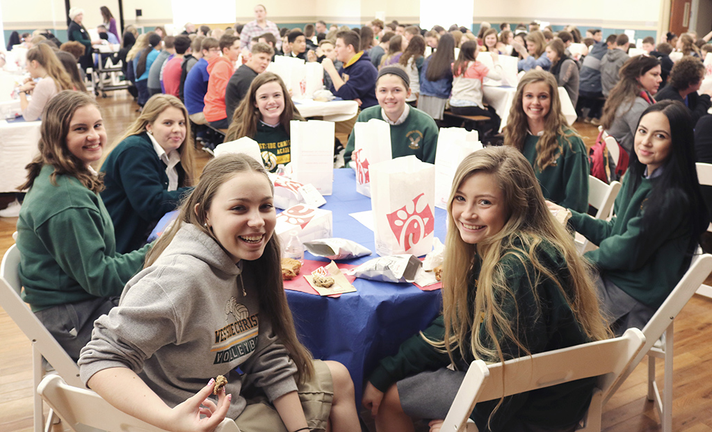 Upper School Students Enjoying Lunch at the RZIM Conference