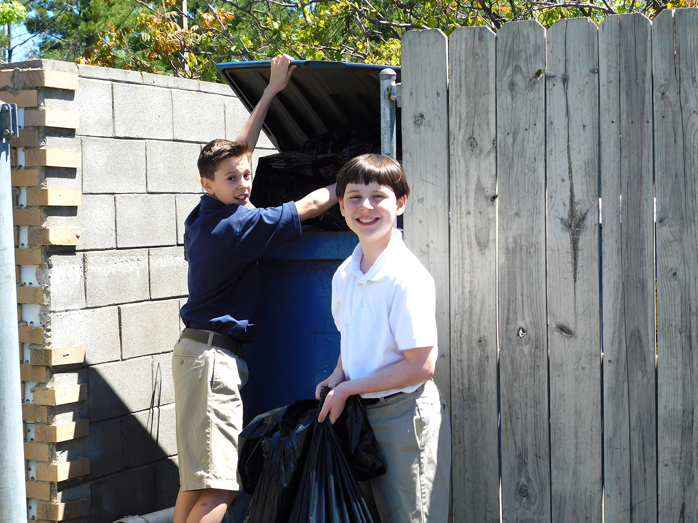 Sixth Graders on Trash Duty