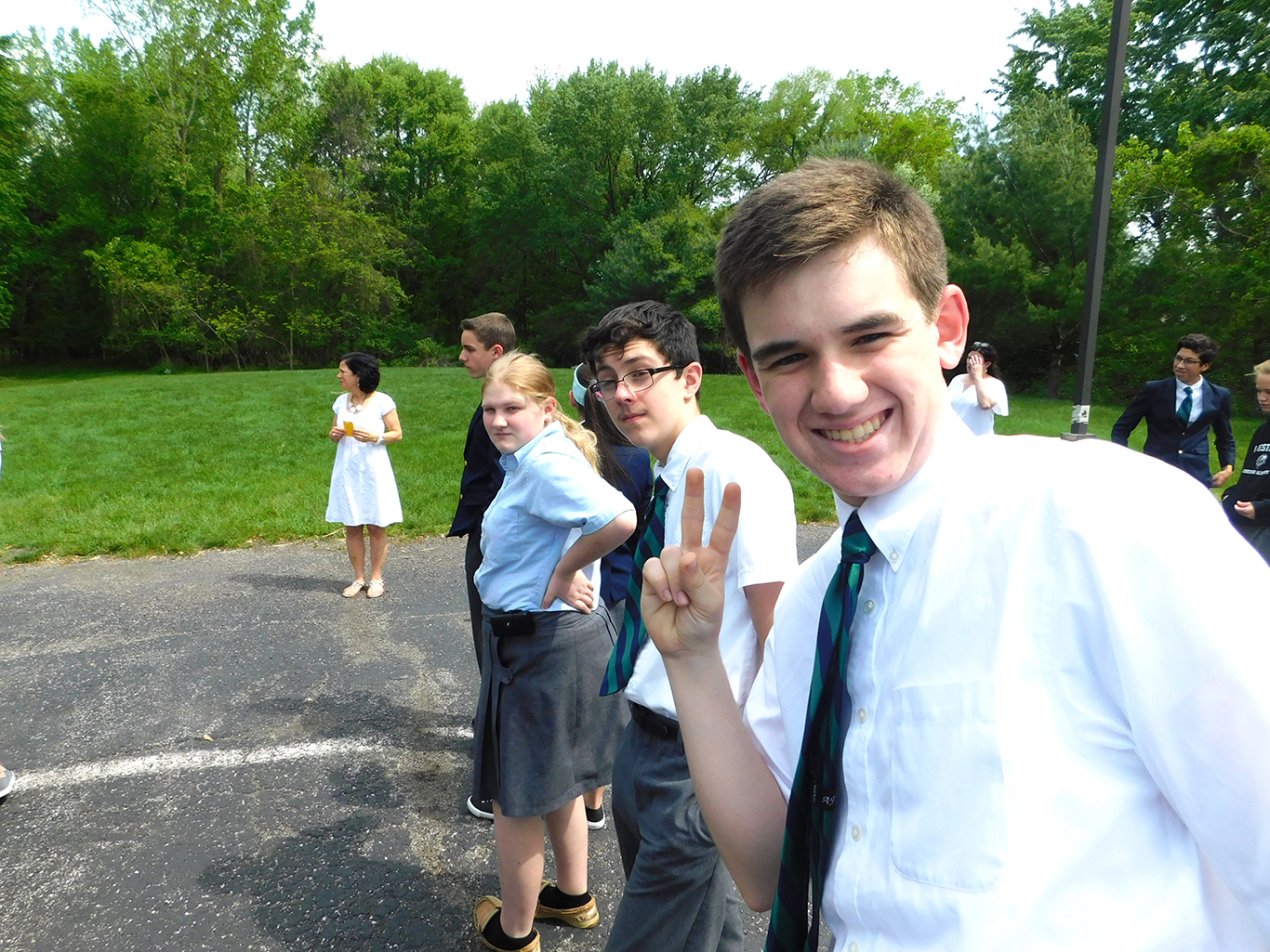 Eight Grade Class during the final fire drill of the year